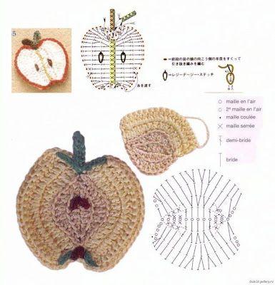 """"""" MOSSITA BELLA PATRONES Y GRÁFICOS CROCHET """": Coaster Apple in Crochet, Posa copas de manzana a crochet!!!"""