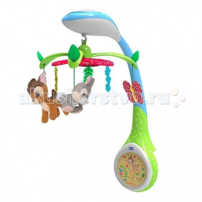 """Мобиль Chicco Disney Бэмби  Яркая карусель с персонажами сказки """"Бэмби"""" кружится под нежную мелодию, развивая первые слуховые и зрительные восприятия новорожденного.   Три мягких подвесных игрушки - олененок, зайчик, бабочка.  7 нежных мелодий.  Время проигрывания 15 минут.  Проекция трех разных цветов (фигурка олененка в лесу). Настраиваемые функции: вращение, проецирование и музыка. Вы можете активировать их одновременно или выбрать комбинацию, которая вам больше понравится.  Батарейки…"""