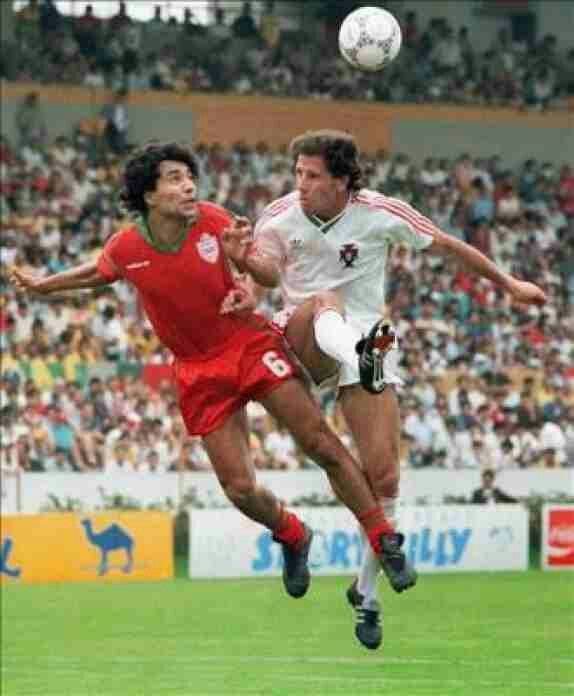Morocco 3 Portugal 1 in 1986 in Guadalajara. Abdelmajid Dolmy beats Alvaro de Magalhaes in the air in Group F at the World Cup Finals.