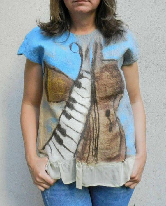 Nuno felt blouse silk wool blouse wool painting