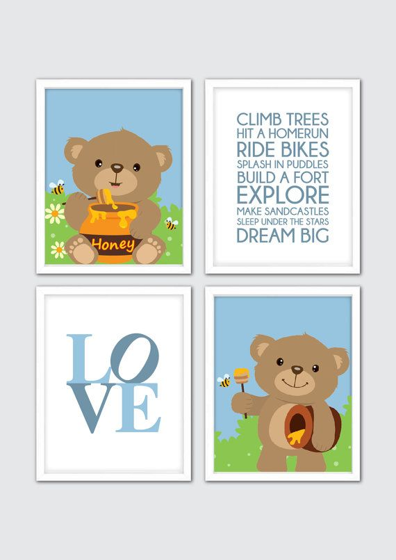 Baby Boy Nursery Art Teddy Bear Nursery Art by RomeCreations