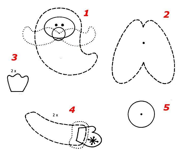 Схема, Трафарет, Шаблон - ДЕД МОРОЗ - Игрушка на елку своими руками, Поделка, Подарок к Рождеству, Новому году в технике бумажных шаров