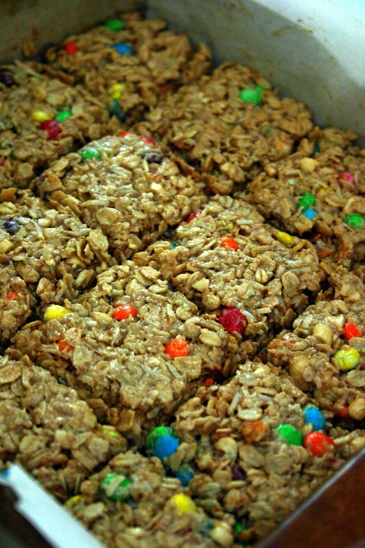 Chewy Granola Energy Bars {use egg substitute}  2 1/2 c quick rolled oats  1/2 c Rice Krispies  1/4 c coconut  1/2 c mini M & M candies  1/2 c chopped peanuts  1/2 c brown sugar  1 Tbsp ground flax  1/4 c butter, softened  1/2 c peanut butter  1/4 c honey  1/2 tsp vanilla  1 egg