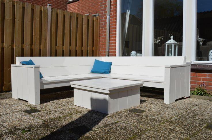 Tuinset in het wit | houten loungeset | Hoekbank 'Witte Stranden' VanStoerHout