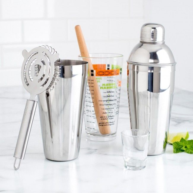 The Libbey Mixologist Bar Set is a must have in any respectable home bar. It comes with all the necessities. A shaker, muddler, Hawthorn strainer, recipes and more. You'll be prepared the next time your guest asks you for that tricky drink.