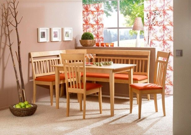 Furniture, Inspiring L Shaped Wood Kitchen Nook With Red Fabric Seat Simple Wood Dining Table Wood Dining Chairs With Red Seat White Shag Area Rug Brown Accent Wall Small Picture Frames Red Floral Pattern Sliding Curtains: Knowing Best Kitchen Nook Ideas