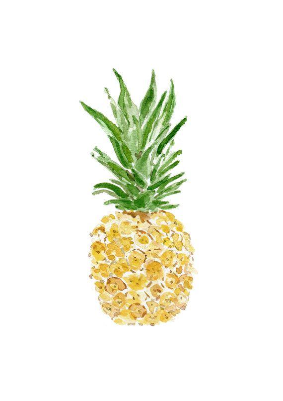 Pineapple, original watercolor painting, tropical, Green, Yellow , Fruits art , Wall art, Kitchen decor, kitchen art , pineapple watercolor