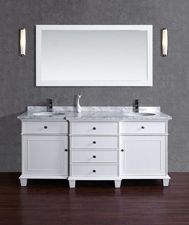 Lyra 73 Inch White Vanity