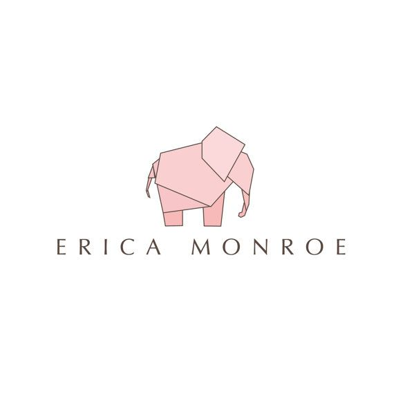 Origami Elephant Logo Ddesign - customizable Pre-made modern logo design - retro peach pink logo