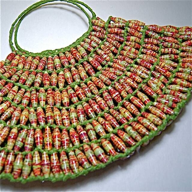 Paper Bead Bag Very Interesting And Would Take A Long Time To Make It