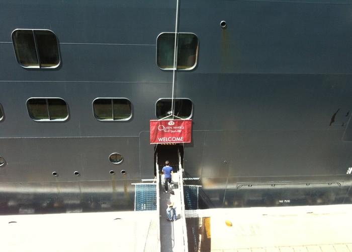 boarding ramp on Queen Mary 2