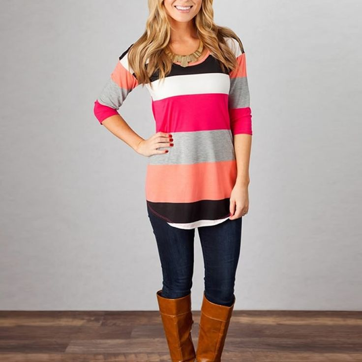 Ladies Spring Stripe Half-Sleeve Casual Top S-XL 2 Colors