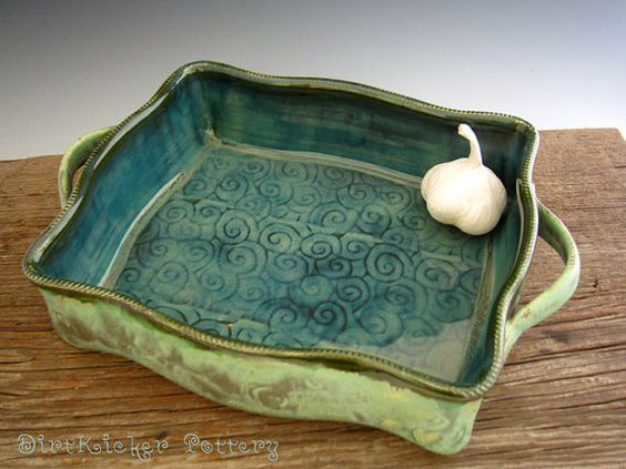 Large Baking Dish in Rustic Patina Green - Pottery Baking Pan ...