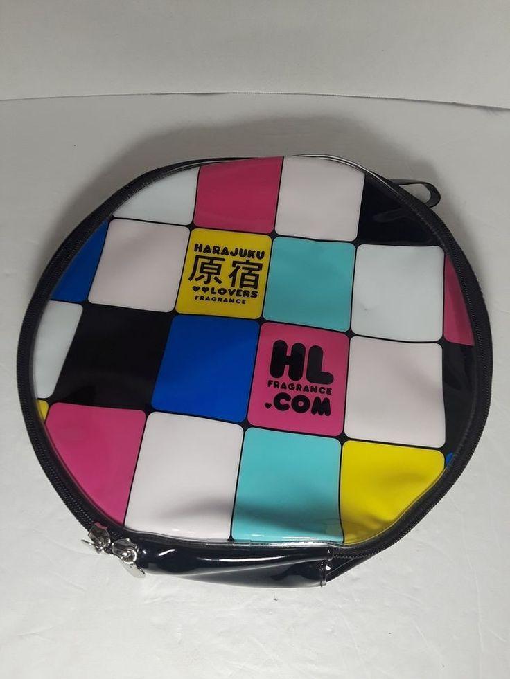 Details about Harajuku Lovers Fragrance Large Round Cosmetic Makeup Zip Case Bag Big Wristlet