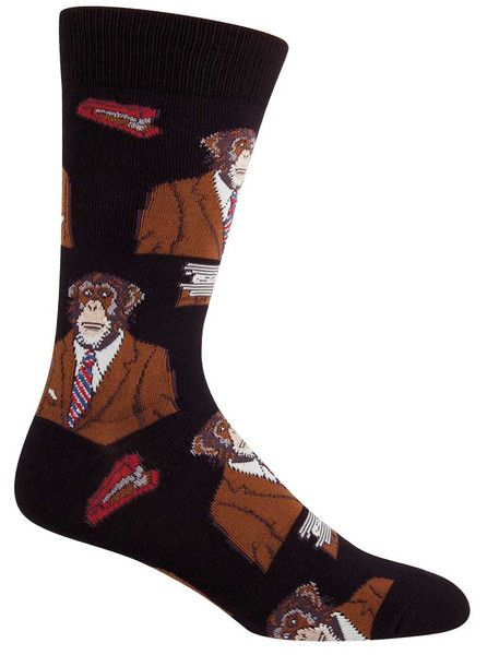 Paper clips and staplers and monkeys in business suits… oh my! In four eye-catching colors there is no way you will go unnoticed in these fun animal socks, and with a design that screams large and inc