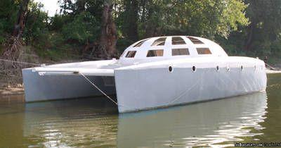 ferrocement catamaran with dome | nomad | Catamaran, Floating boat, Boat