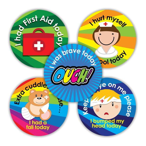 These colourful First Aid stickers are sure to help soothe playground bumps and bruises and will be a handy reminder for parents to keep an eye on their patients at home time!  Messages include: I had First Aid today I hurt myself in school today Keep an eye on me please, I bumped my head today Extra cuddles please... I had a fall today I was brave today OUCH!  125 x 28mm First Aid stickers per pack.