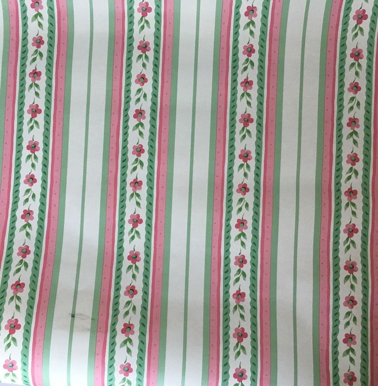 VTG Waverly Wallpaper Pink Green White Stripe Flower One Double Roll Made…