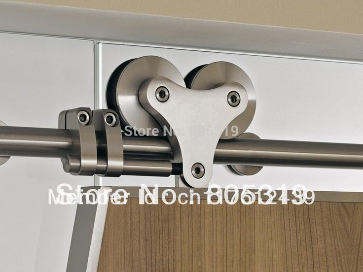 5ft-13ft Top mount solid twin roller barn door hanger kit stainless steel sliding barn closet door track kit