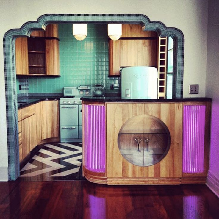 Art Deco Apartment Interior: Art Deco Kitchen, Miami. More Retro Than I Usually Like