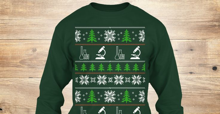 """Show off your love for lab equipmentsand your sense of humorduring this Christmas seasonwith this one of a kind long sleeves shirt!These vintage styles """"ugly"""" Christmas knit shirts are hard to find now.But, you can still get these Limited Edition faux-vintage shirts in our shop.At first glance, you may think you are looking at any old Holidays design, but with closer examination you'll see that the reindeers have been replaced by laboratory equipments.We will only have 1 Print Run.…"""