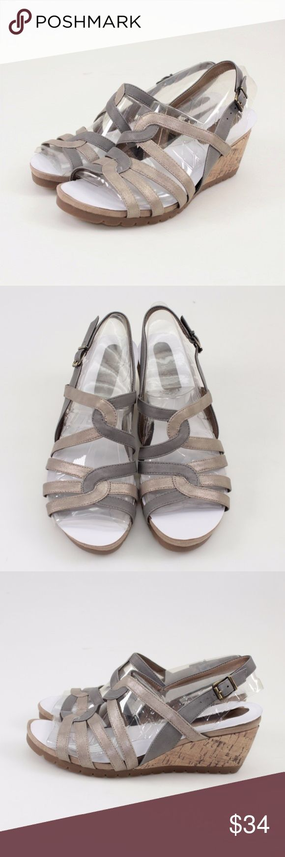 """LifeStride Novak Metallic Wedge Sandals // 10 WIDE These adorable sandals flaunt flirty slingback styling atop a cork-patterned wedge. Synthetic upper Fabric lining Padded footbed Open toe design Buckle Closure Wedge height approx. 2""""  Photos show all details, so look over thoroughly.  Brand new in the original box! #18TW34 // LifeStride // Novak // Casual // Sandal // Wedge //Metallic Champagne LifeStride Shoes Sandals"""