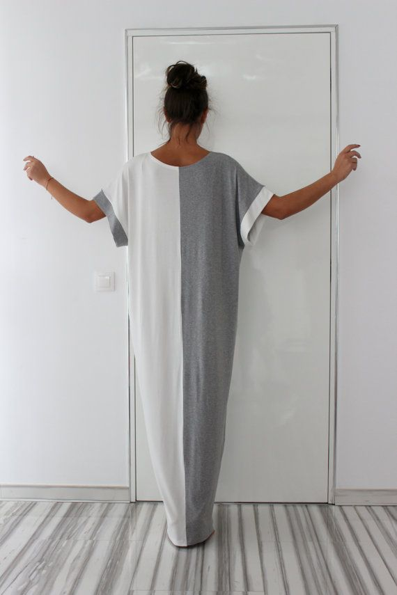 Grey and White Long MAXI Oversized Elegant Party Dress/Caftan Dress/Dress with Pockets