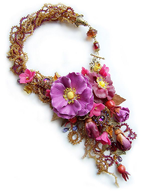 """Yuliya Galuschak – very talanted ukrainian jewellery artist. To make her wonderful pieces she uses many different materials – beads, polimer clay, wire, gemstones, seed beads and other. She is inspired by flowers, butterflies, seasons of year and beautiful nature."" - beadsmagic.com"