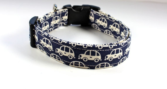 Dog collar Pet Taxi in navy blue and white with cute by FunkyMutt, $15.00