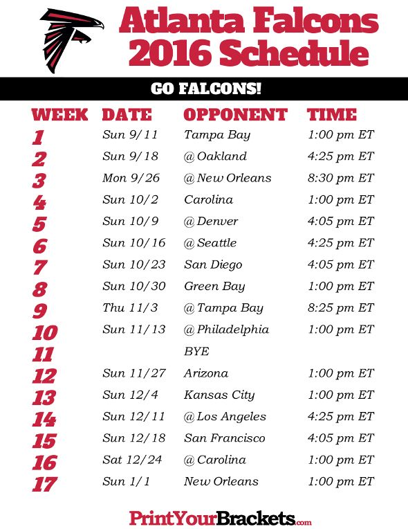 Atlanta Falcons Schedule - 2016