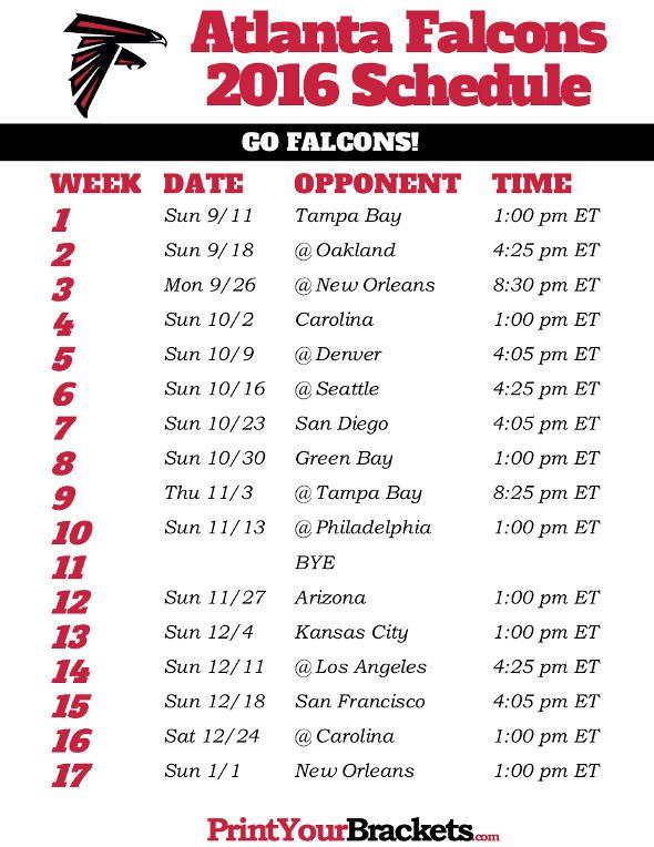 Atlanta Falcons Schedule - 2016