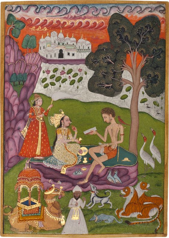 Layla visits Majnun  in the Grove. India, Hyderabad  c. 1770