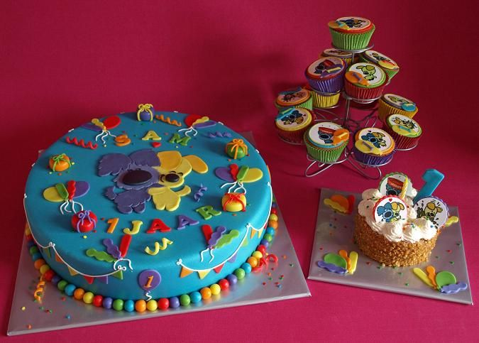 Woezel en Pip taart, meptaartje en cupcakes, compleet feest!
