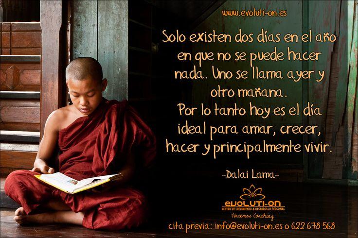 Solo existen dos días en el año en que no se puede hacer nada. Uno se llama ayer y otro mañana.  Por lo tanto hoy es el día ideal para amar, crecer, hacer y principalmente vivir. -Dalai Lama- www.evoluti-on.es