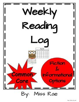 Weekly Reading Log - Homework options!  Fiction and Nonfication - Informational texts!