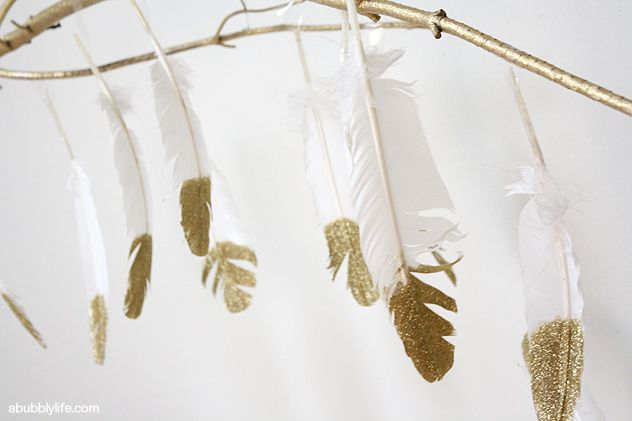 A Bubbly Life: DIY Glitter Feathers Branch Chandelier
