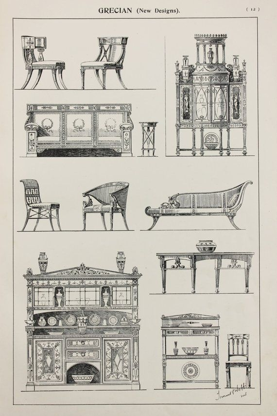 Greek or Grecian Furniture Designs, Large 1904 Antique