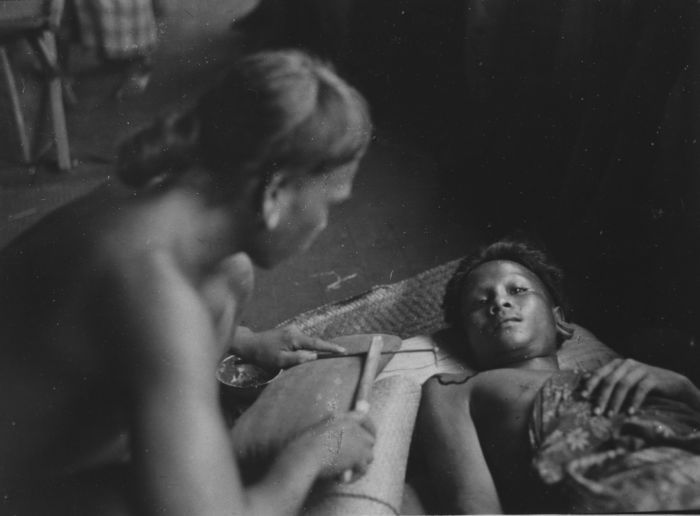 Traditional tattooing among the Dajak people of West Borneo, Indonesia, ca. 1927.