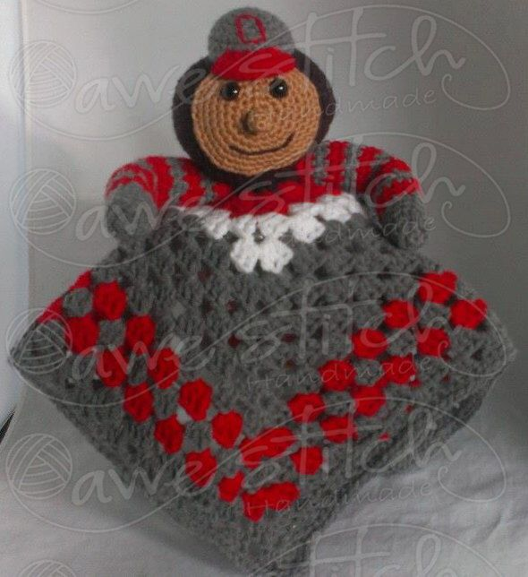 Ohio State Buckeye Brutus INSPIRED Crochet Lovey Pattern Instant Download Blanket Blankie Blankey Security Stuffie OSU by AweStitch on Etsy https://www.etsy.com/listing/167005399/ohio-state-buckeye-brutus-inspired