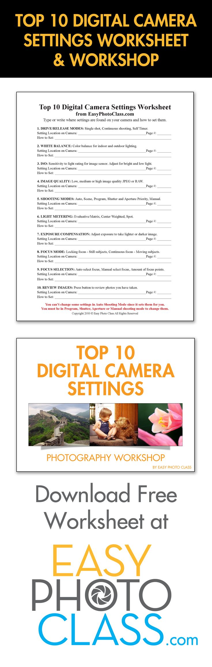 Free worksheet to help you learn the Top 10 settings on your digital camera. Workshop is free if you compliment, encourage or say Thank you to 10 people before October 31, 2017. Worksheet is a pdf with a second page that has instructions on how to reset your digital camera to the way it came from the factory. This gives you freedom to explore your camera settings and forgiveness if you mess them up. For more info check out our video at https://youtu.be/bZlNqI4Qpog