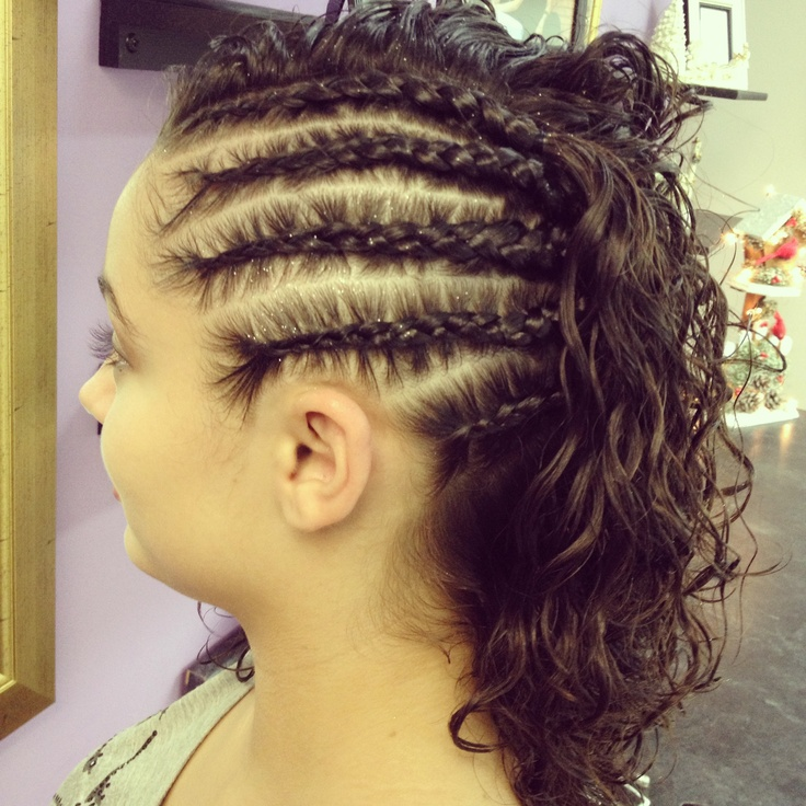 Braided on one side and curly on the other. Natural curl with cornrows in other words. | Hair ...