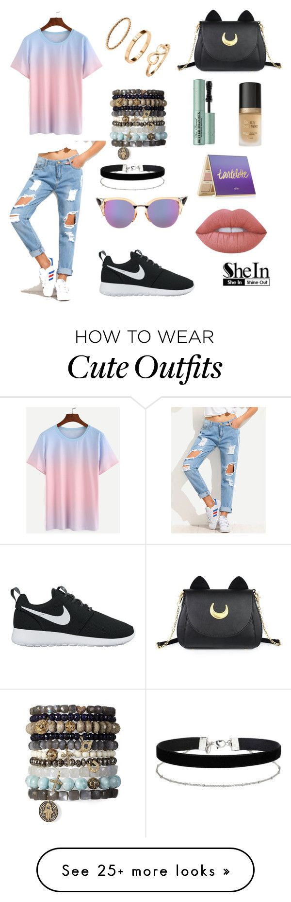 pretty in pastels. nice and relaxed but cute outfit by morganna15 on Polyvore featuring NIKE, Usagi, Fendi, Miss Selfridge, Lime Crime, tarte and Too Faced Cosmetics