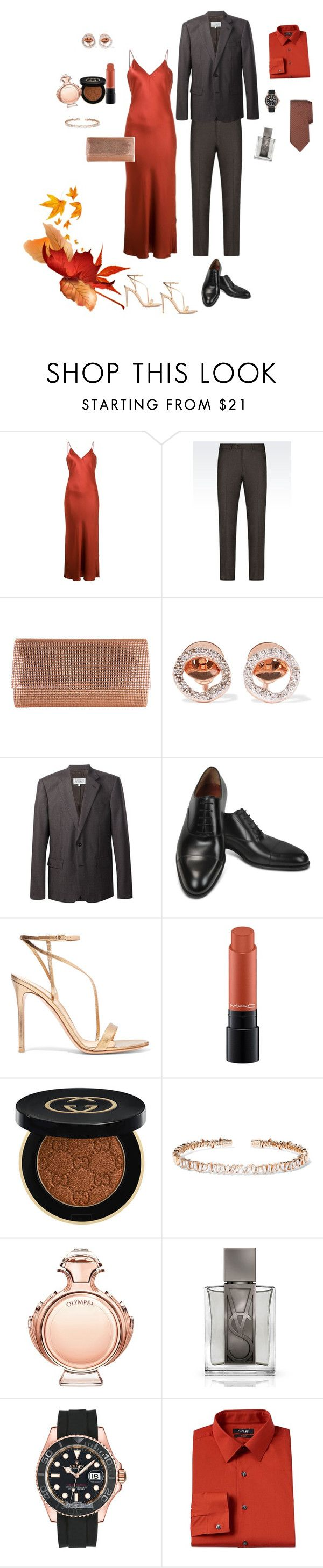"""Fall bridesmaid & bestman"" by ms-hinds ❤ liked on Polyvore featuring Protagonist, Armani Collezioni, Judith Leiber, Monica Vinader, Maison Margiela, Fratelli Rossetti, Gianvito Rossi, MAC Cosmetics, Gucci and Suzanne Kalan"