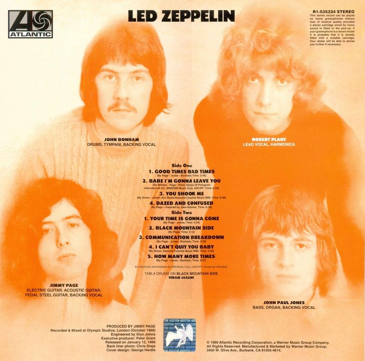 Led Zeppelin Led Zeppelin 1 1969 Atlantic Back