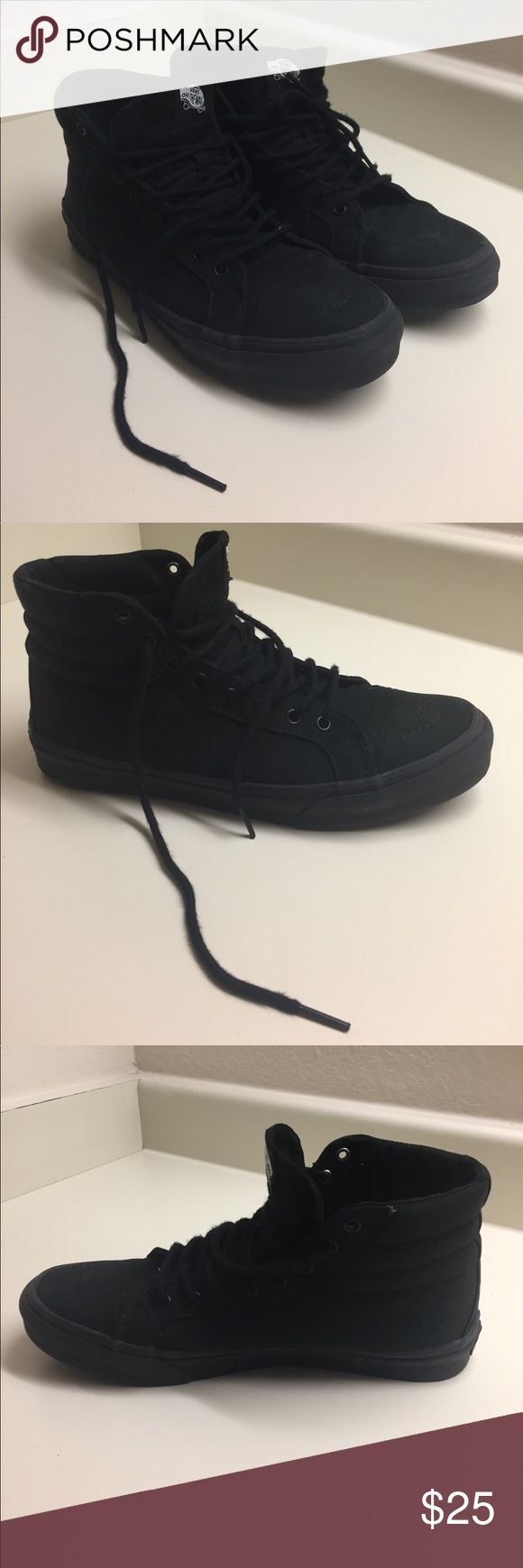 All Black Sk8-Hi Vans Women's size 10, Men's size 8.5. All black canvas & rubber walls, black round laces, stitched design, sneakers, barely worn, good condition, waffled soles. Vans Shoes Sneakers