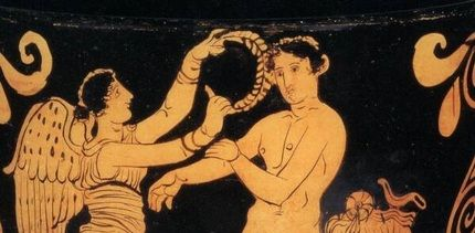 The goddess Nike crowns an athlete (ca. 380 BC). Scan from: Raimund Wünsche, Florian Knauß (eds.), Lockender Lorbeer. Sport und Spiel in der Antike, 2004, p. 359 (Olympisches Museum, Lausanne)