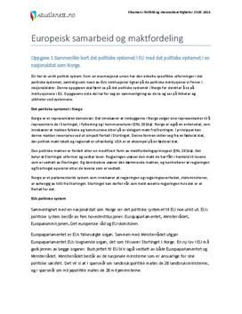 Last ned Europeisk samarbeid og maktfordeling | Eksamen i Politikk og menneskerettigheter | Våren 2014