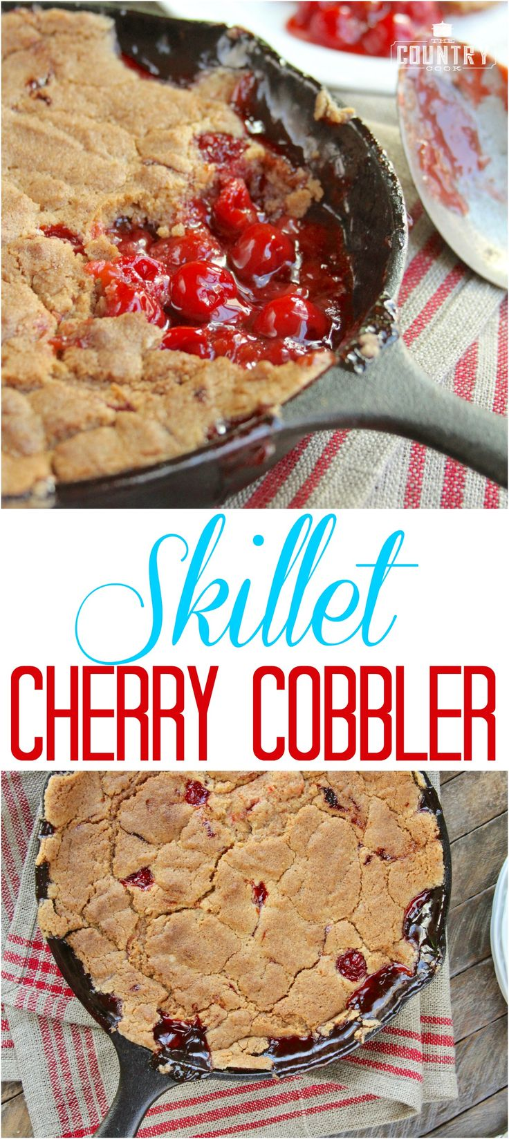 Easy Skillet Cherry Cobbler recipe from The Country Cook