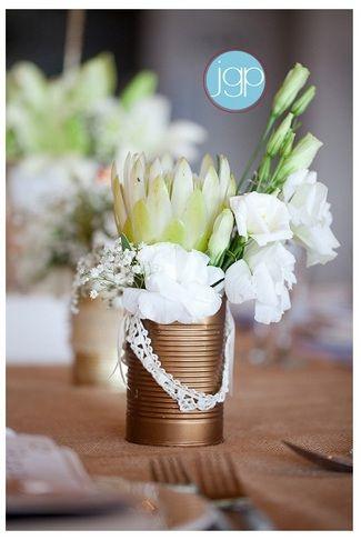 West Coast Beach Party Wedding {Sea Trader} | Confetti Daydreams - Metallic DIY Flower Tin Can centrepiece ♥ #Wedding #Beach ♥  ♥  ♥ LIKE US ON FB: www.facebook.com/confettidaydreams  ♥  ♥  ♥