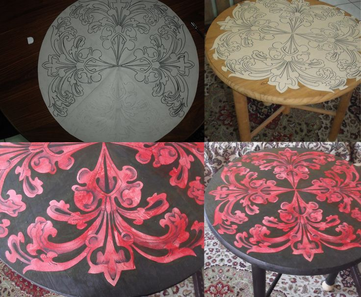 round table decoupage and painted by me.